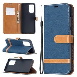 Jeans Cowboy Denim Leather Wallet Case for Samsung Galaxy A52 5G - Dark Blue
