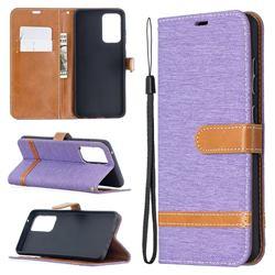Jeans Cowboy Denim Leather Wallet Case for Samsung Galaxy A52 5G - Purple