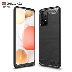 Luxury Carbon Fiber Brushed Wire Drawing Silicone TPU Back Cover for Samsung Galaxy A52 5G - Black
