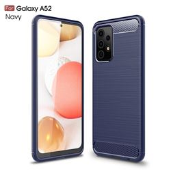 Luxury Carbon Fiber Brushed Wire Drawing Silicone TPU Back Cover for Samsung Galaxy A52 5G - Navy