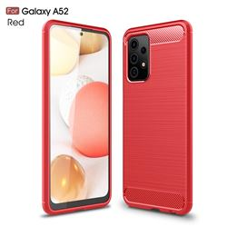 Luxury Carbon Fiber Brushed Wire Drawing Silicone TPU Back Cover for Samsung Galaxy A52 5G - Red