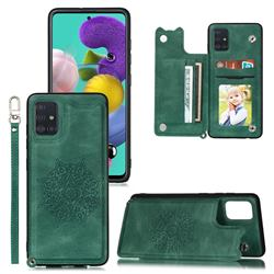 Luxury Mandala Multi-function Magnetic Card Slots Stand Leather Back Cover for Samsung Galaxy A52 5G - Green
