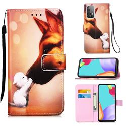 Hound Kiss Matte Leather Wallet Phone Case for Samsung Galaxy A52 5G