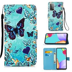 Love Butterfly Matte Leather Wallet Phone Case for Samsung Galaxy A52 5G