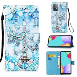 Tower Butterfly Matte Leather Wallet Phone Case for Samsung Galaxy A52 5G
