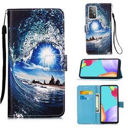Waves and Sun Matte Leather Wallet Phone Case for Samsung Galaxy A52 5G