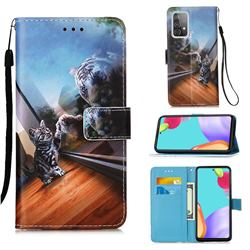 Mirror Cat Matte Leather Wallet Phone Case for Samsung Galaxy A52 5G