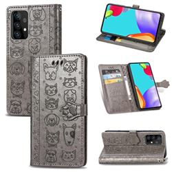 Embossing Dog Paw Kitten and Puppy Leather Wallet Case for Samsung Galaxy A52 5G - Gray