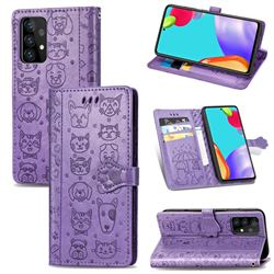 Embossing Dog Paw Kitten and Puppy Leather Wallet Case for Samsung Galaxy A52 5G - Purple