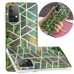 Green Rhombus Galvanized Rose Gold Marble Phone Back Cover for Samsung Galaxy A52 5G