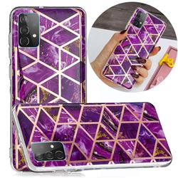 Purple Rhombus Galvanized Rose Gold Marble Phone Back Cover for Samsung Galaxy A52 5G