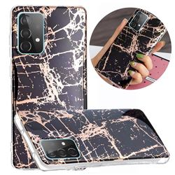 Black Galvanized Rose Gold Marble Phone Back Cover for Samsung Galaxy A52 5G