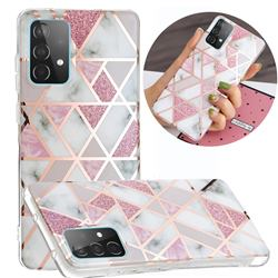 Pink Rhombus Galvanized Rose Gold Marble Phone Back Cover for Samsung Galaxy A52 5G