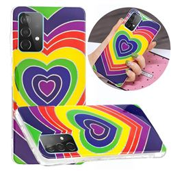Rainbow Heart Painted Galvanized Electroplating Soft Phone Case Cover for Samsung Galaxy A52 5G