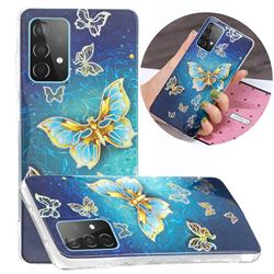 Golden Butterfly Painted Galvanized Electroplating Soft Phone Case Cover for Samsung Galaxy A52 5G