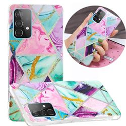 Triangular Marble Painted Galvanized Electroplating Soft Phone Case Cover for Samsung Galaxy A52 5G