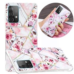 Rose Flower Painted Galvanized Electroplating Soft Phone Case Cover for Samsung Galaxy A52 5G