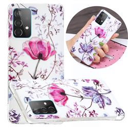 Magnolia Painted Galvanized Electroplating Soft Phone Case Cover for Samsung Galaxy A52 5G