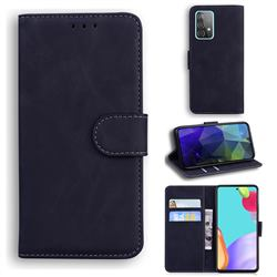 Retro Classic Skin Feel Leather Wallet Phone Case for Samsung Galaxy A52 5G - Black