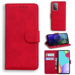 Retro Classic Skin Feel Leather Wallet Phone Case for Samsung Galaxy A52 5G - Red