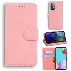 Retro Classic Skin Feel Leather Wallet Phone Case for Samsung Galaxy A52 5G - Pink