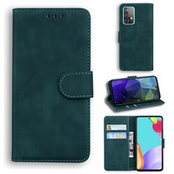 Retro Classic Skin Feel Leather Wallet Phone Case for Samsung Galaxy A52 5G - Green