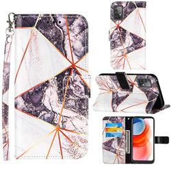 Black and White Stitching Color Marble Leather Wallet Case for Samsung Galaxy A52 5G