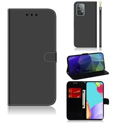 Shining Mirror Like Surface Leather Wallet Case for Samsung Galaxy A52 (4G, 5G) - Black