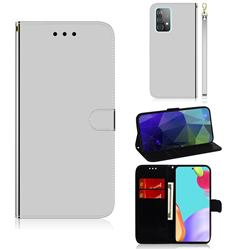 Shining Mirror Like Surface Leather Wallet Case for Samsung Galaxy A52 (4G, 5G) - Silver