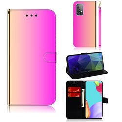 Shining Mirror Like Surface Leather Wallet Case for Samsung Galaxy A52 (4G, 5G) - Rainbow Gradient