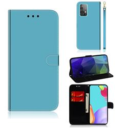 Shining Mirror Like Surface Leather Wallet Case for Samsung Galaxy A52 (4G, 5G) - Blue