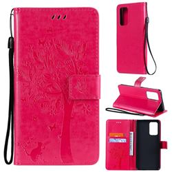 Embossing Butterfly Tree Leather Wallet Case for Samsung Galaxy A52 (4G, 5G) - Rose