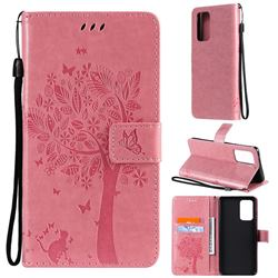 Embossing Butterfly Tree Leather Wallet Case for Samsung Galaxy A52 (4G, 5G) - Pink