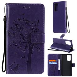 Embossing Butterfly Tree Leather Wallet Case for Samsung Galaxy A52 (4G, 5G) - Purple