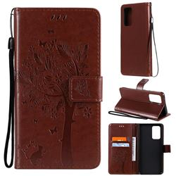 Embossing Butterfly Tree Leather Wallet Case for Samsung Galaxy A52 (4G, 5G) - Coffee