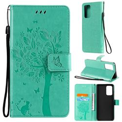 Embossing Butterfly Tree Leather Wallet Case for Samsung Galaxy A52 (4G, 5G) - Cyan
