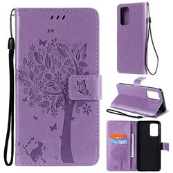 Embossing Butterfly Tree Leather Wallet Case for Samsung Galaxy A52 (4G, 5G) - Violet