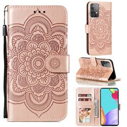 Intricate Embossing Datura Solar Leather Wallet Case for Samsung Galaxy A52 (4G, 5G) - Rose Gold