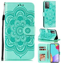 Intricate Embossing Datura Solar Leather Wallet Case for Samsung Galaxy A52 (4G, 5G) - Green
