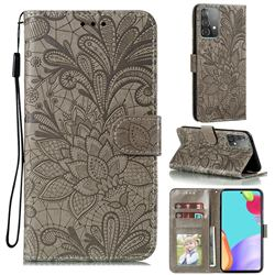 Intricate Embossing Lace Jasmine Flower Leather Wallet Case for Samsung Galaxy A52 (4G, 5G) - Gray