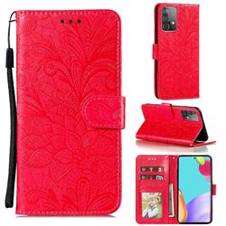 Intricate Embossing Lace Jasmine Flower Leather Wallet Case for Samsung Galaxy A52 (4G, 5G) - Red