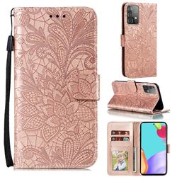 Intricate Embossing Lace Jasmine Flower Leather Wallet Case for Samsung Galaxy A52 (4G, 5G) - Rose Gold