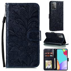 Intricate Embossing Lace Jasmine Flower Leather Wallet Case for Samsung Galaxy A52 (4G, 5G) - Dark Blue