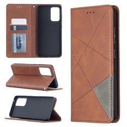 Prismatic Slim Magnetic Sucking Stitching Wallet Flip Cover for Samsung Galaxy A52 (4G, 5G) - Brown