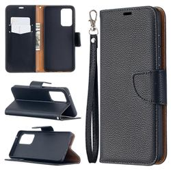 Classic Luxury Litchi Leather Phone Wallet Case for Samsung Galaxy A52 (4G, 5G) - Black