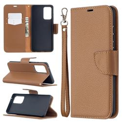 Classic Luxury Litchi Leather Phone Wallet Case for Samsung Galaxy A52 (4G, 5G) - Brown