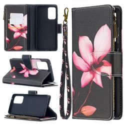 Lotus Flower Binfen Color BF03 Retro Zipper Leather Wallet Phone Case for Samsung Galaxy A52 (4G, 5G)
