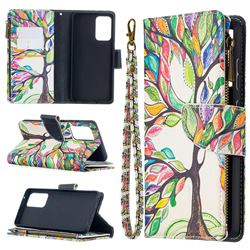 The Tree of Life Binfen Color BF03 Retro Zipper Leather Wallet Phone Case for Samsung Galaxy A52 (4G, 5G)
