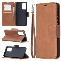 Classic Sheepskin PU Leather Phone Wallet Case for Samsung Galaxy A52 (4G, 5G) - Brown