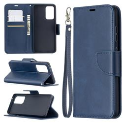 Classic Sheepskin PU Leather Phone Wallet Case for Samsung Galaxy A52 (4G, 5G) - Blue